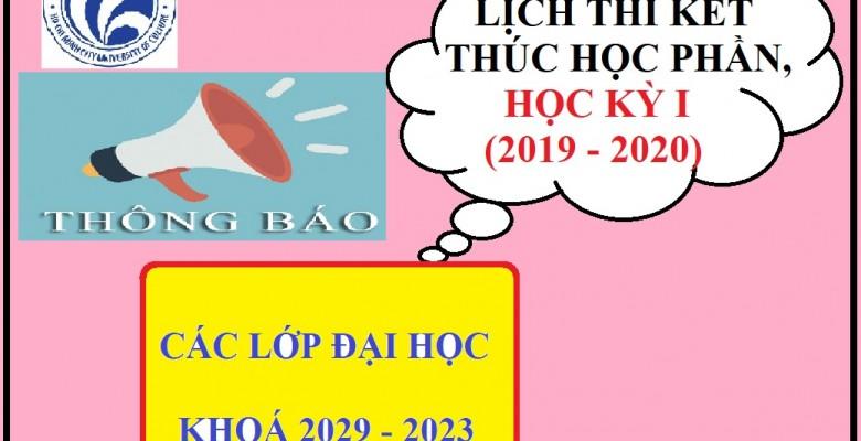 Lịch thi kết thúc học phần các lớp bậc Đại học, Khoá 2019-2023