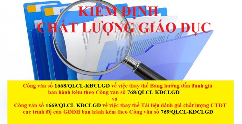 Công văn thay thế CV768 và CV769 hướng dẫn đánh giá KĐCL cấp CSGD và CTĐT do Bộ GD&ĐT ban hành